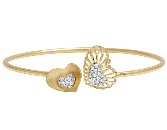 Jewelry Unlimited 14K Yellow Gold Real Diamond Double Heart Ladies Flex Bangle 0.45 CT Image 1
