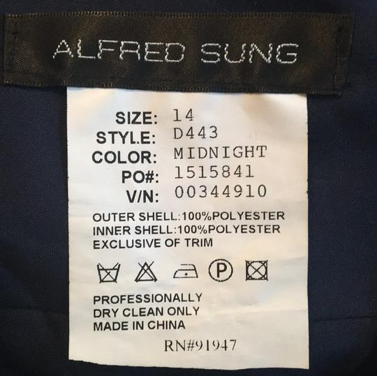 Alfred Sung Midnight Polyester D443 Casual Bridesmaid/Mob Dress Size 14 (L) Image 4