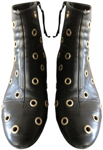 Isabel Marant Sexy Gold Grommets Ankle black Boots