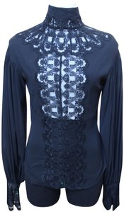24213600527e37 Catherine Malandrino Vintage Victorian Edwardian Balloon Sleeves Top black