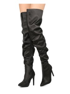 4bebf05463a Cape Robbin Black Ruched Satin Thigh High Boots/Booties Size US 7 ...
