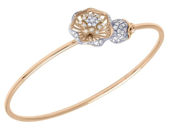 Jewelry Unlimited 14K Rose Gold Real Diamond Flower Ball Flex Bangle 1.15 CT Image 0