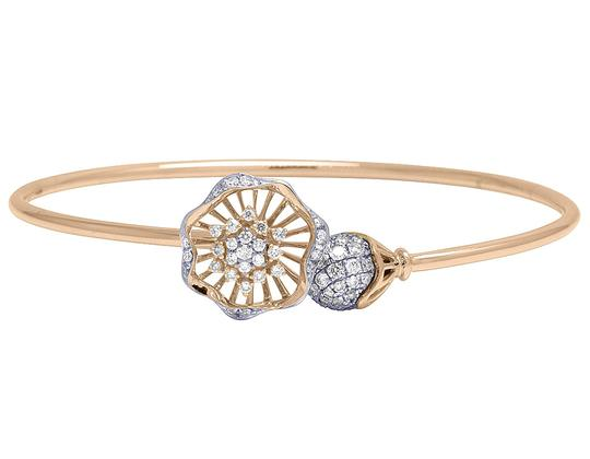 Jewelry Unlimited 14K Rose Gold Real Diamond Flower Ball Flex Bangle 1.15 CT Image 1
