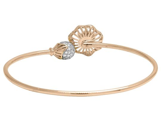 Jewelry Unlimited 14K Rose Gold Real Diamond Flower Ball Flex Bangle 1.15 CT Image 2