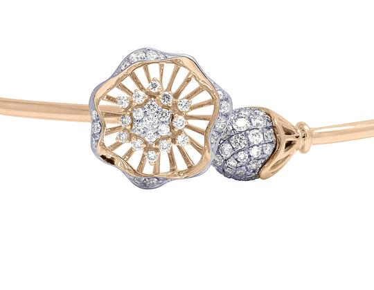 Jewelry Unlimited 14K Rose Gold Real Diamond Flower Ball Flex Bangle 1.15 CT Image 3