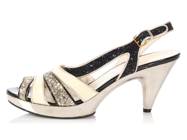 Item - White Patent Black and Gold Glitter Sparkle Strappy Sandals Size EU 40.5 (Approx. US 10.5) Regular (M, B)