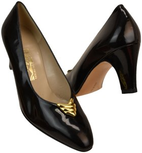 Salvatore Ferragamo Patent Leather Vintage Black Pumps