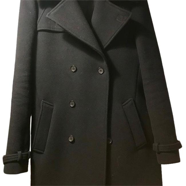 Item - Navy Double Breasted Modern Faux Fur Collar Coat Size 4 (S)
