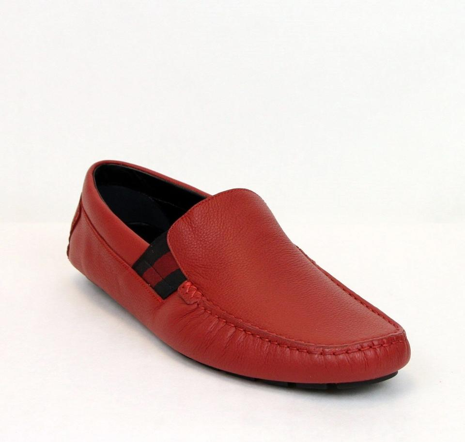 b16888b7d14 Gucci Red New Soft Leather Loafer with Brb Web 10.5g Us 11 363835 6452 Shoes