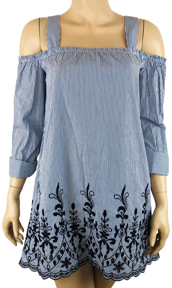 82edd6ee2a86fb Zara Blue White Trafaluc Off Cold Shoulder Embroidered Tunic Size 2 ...