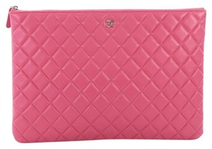 1c0f0dfb11d9 Chanel Clutch O Case Quilted Large Pink Lambskin Leather Clutch ...