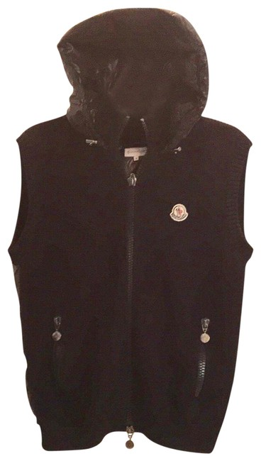 Item - Very Dark Navy Down Feather Quilted Wool Knitted Hoody M Vest Size 10 (M)