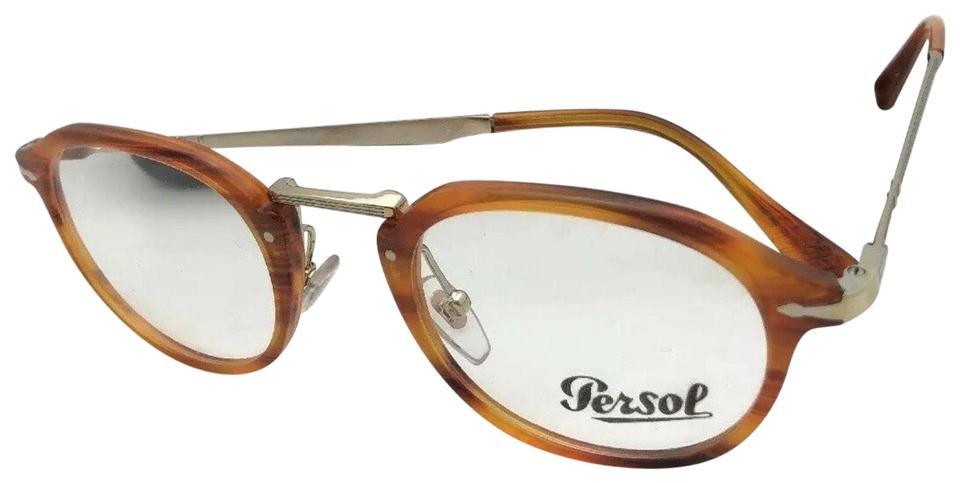 09ef26d788 Persol New PERSOL Eyeglasses Calligrapher 3168-V 960 48-22 145 Striped Brown  Image ...