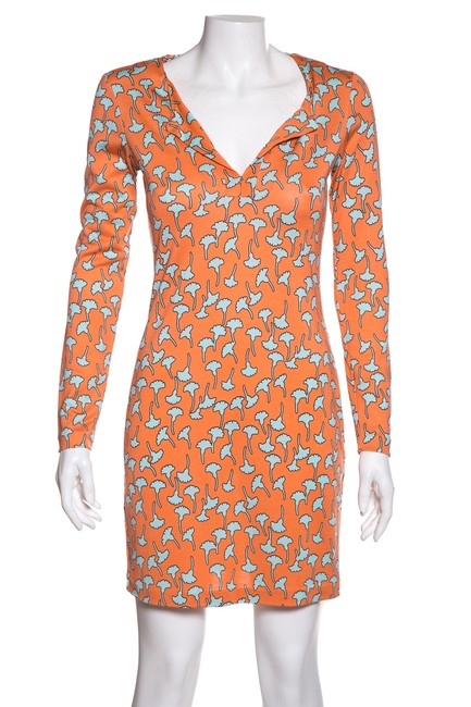 Item - Orange Knit Print Short Casual Dress Size 2 (XS)