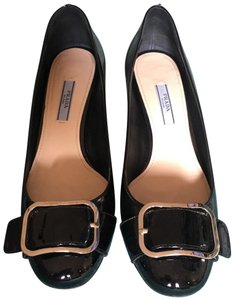be9e919a901 Prada black with silver buckle and deco on heels Pumps