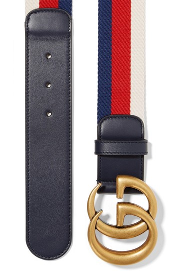 Gucci Gucci size 65 Striped canvas and leather belt Image 1