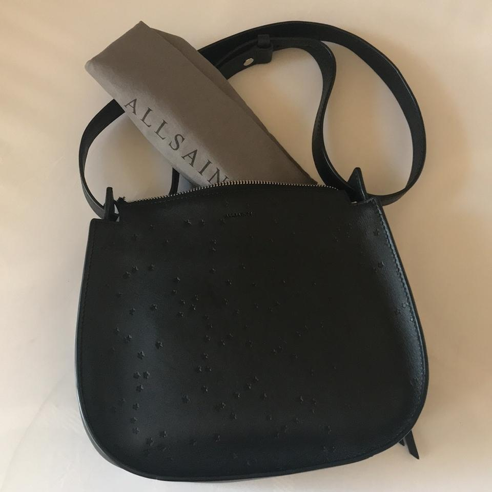 4703c845fc3e AllSaints Echo Mini Black Leather Stamped with Stars Hobo Bag - Tradesy