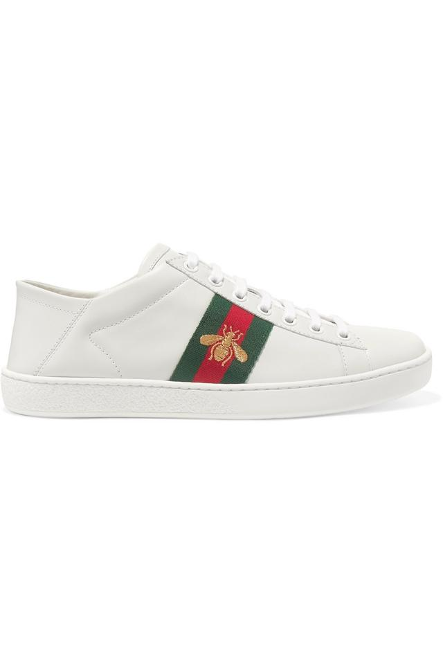 06cc29045 Gucci Ace Embroidered Leather Collapsible-heel Sneakers Size EU 40 ...
