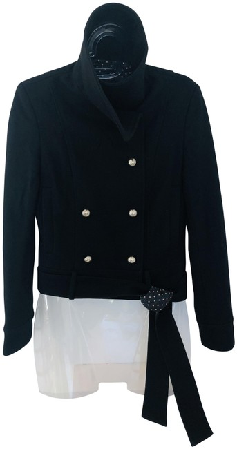 Item - Black Fitted Double-breasted Wool with Silver Buttons and Tie At Waist Coat Size 00 (XXS)