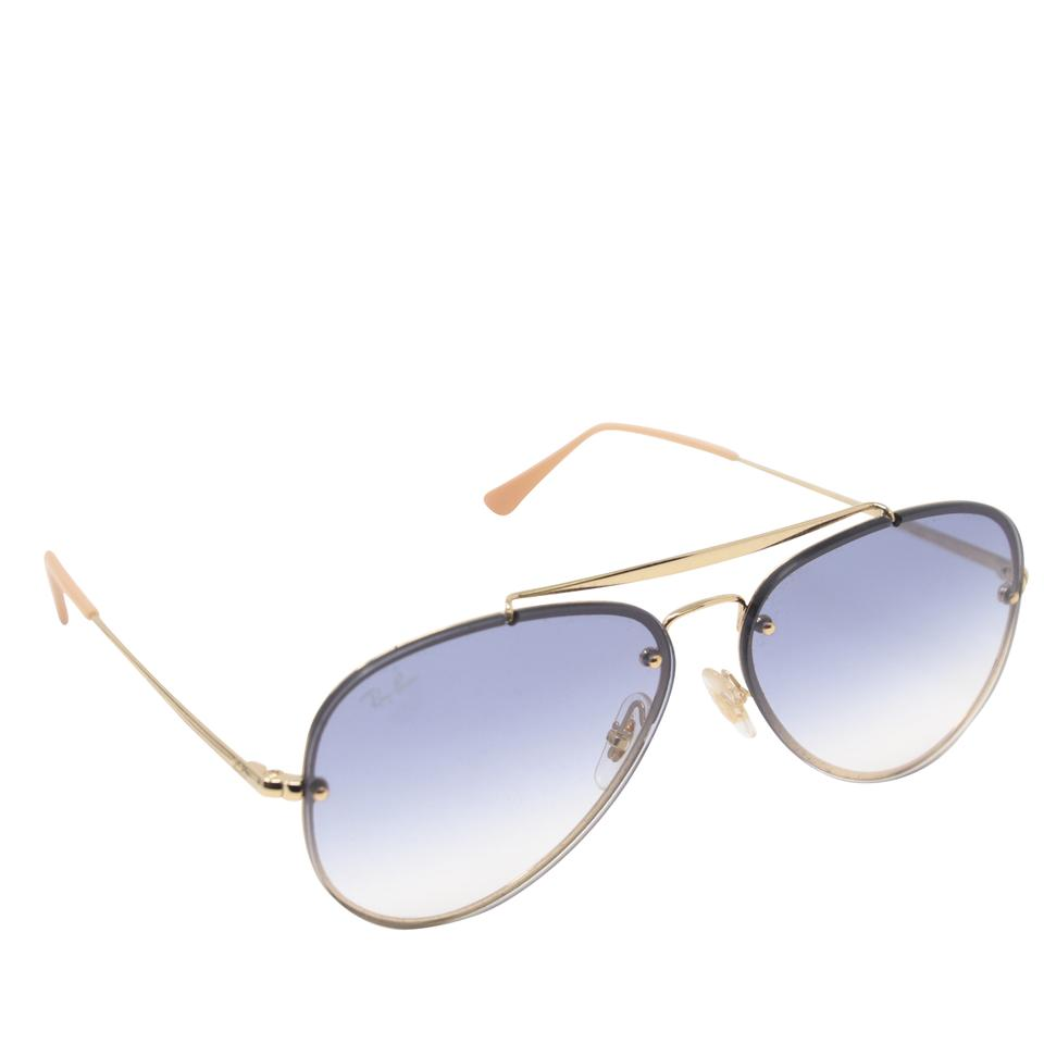 6b2b3d2ca Ray-Ban Gold Steel Light Blue Gradient RB3584 Blaze Aviator Sunglasses  Image 0 ...