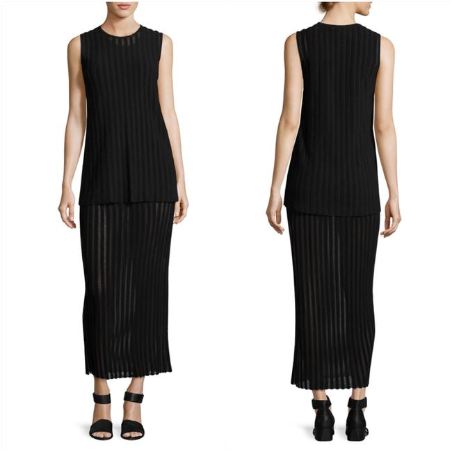 Item - Black Two-tiered Sleeveless Knit Maxi Long Cocktail Dress Size 12 (L)
