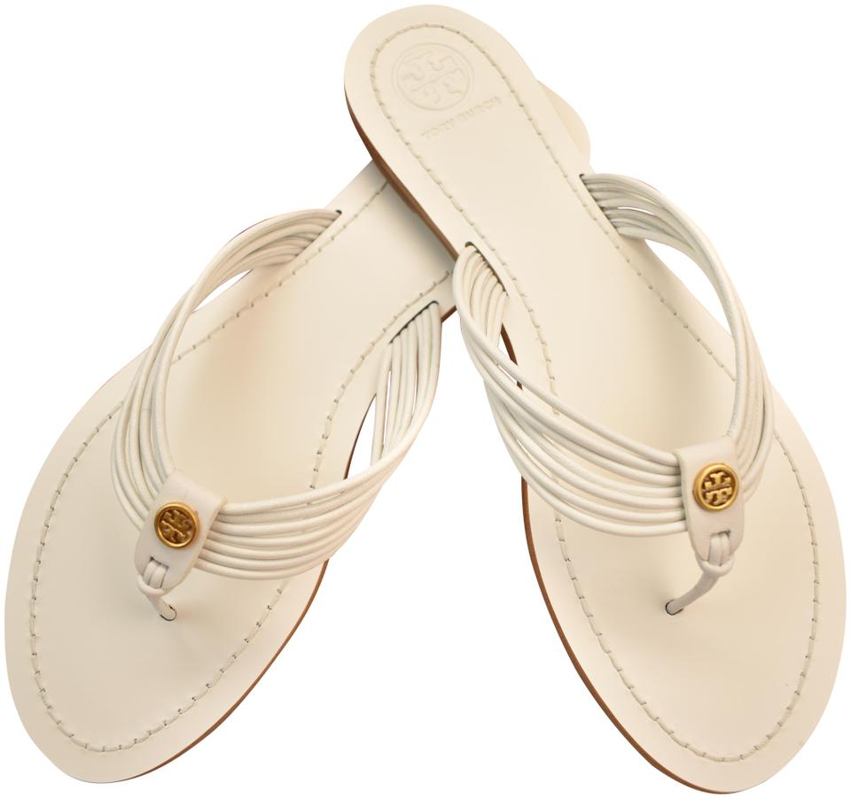 bafb1a25d02e Tory Burch White Sienna Glove Nappa Leather Reva Thong Sandals Flats ...