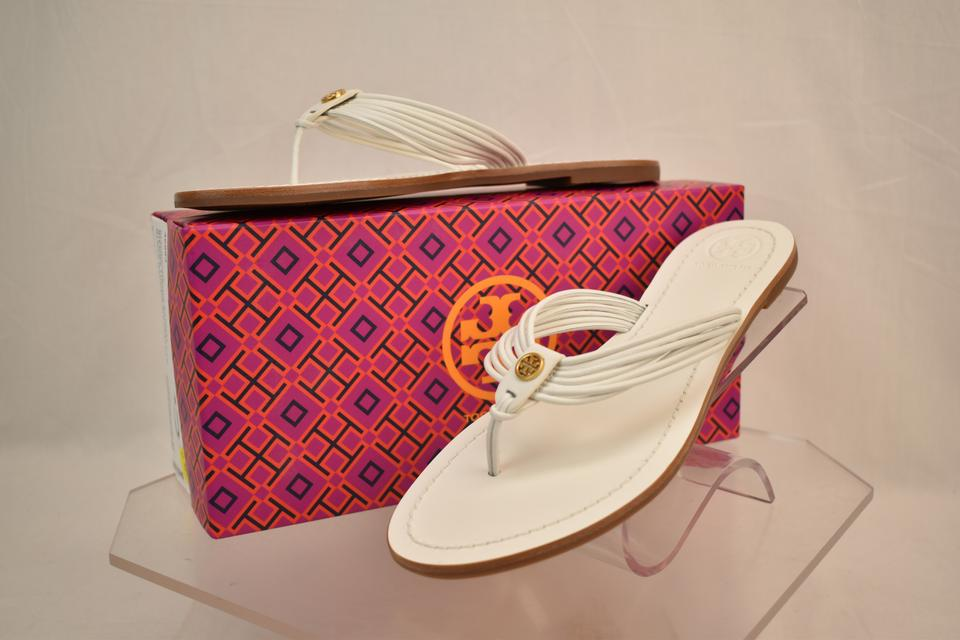 a4adf2568f1 Tory Burch White Sienna Glove Nappa Leather Reva Thong Sandals Flats Size  US 11 Regular (M