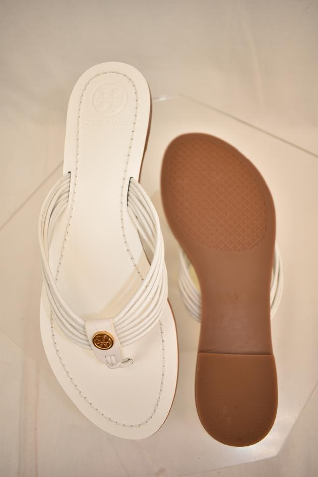 2807cc643ad Tory Burch White Sienna Glove Nappa Leather Reva Thong Sandals Flats Size  US 8.5 Regular (M