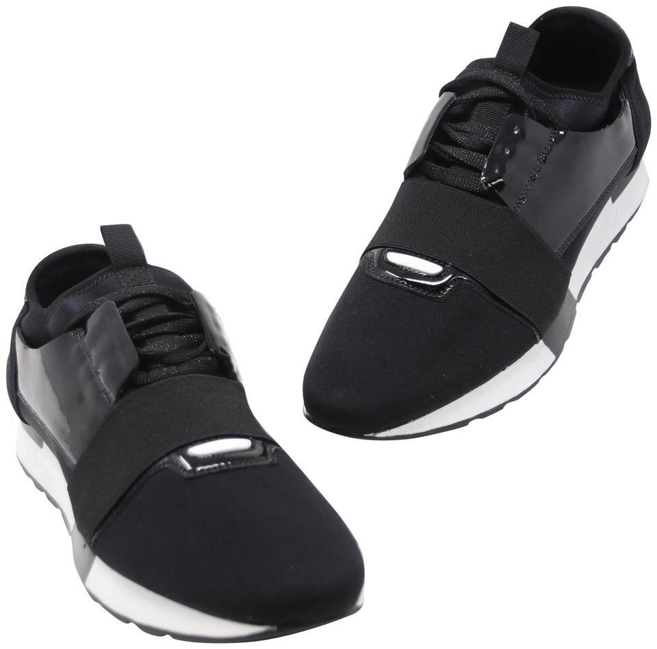 3b4b32c32ac9 Balenciaga Black Nylon Neoprene Patent Leather Race Runner Sneakers Sneakers