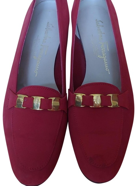 Item - Red Soft Nubuck Loafers with Mini Buckles Flats Size US 7 Regular (M, B)
