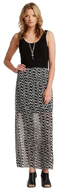 Item - Black & Cream White Graphic Chiffon Overlay Maxi-tank-dress Long Casual Maxi Dress Size 14 (L)