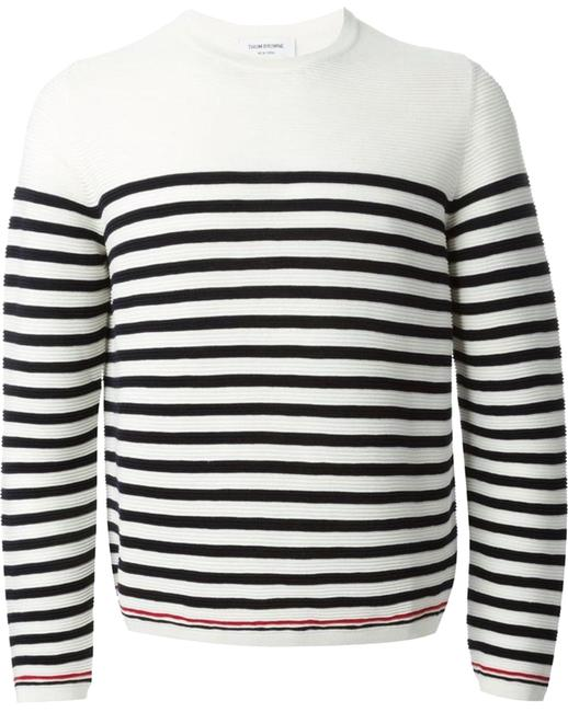 Thom Browne Striped Crew Neck Ivory Sweater Thom Browne Striped Crew Neck Ivory Sweater Image 1