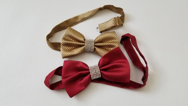 Item - Gold Red 2 X New Party Event Sparkly Bling Tie/Bowtie