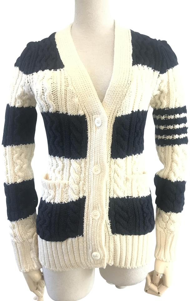 0cf4f128e2 Thom Browne Chunky Knit Cardigan Navy White Sweater - Tradesy