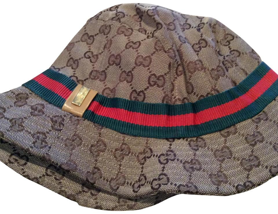Gucci Tan Red Green Guccissima Bucket (M)(Medium) Hat - Tradesy 453c090834d
