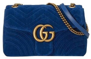 c91296a360f Gucci Interior Zipper Smart Phone Pockets Sliding Chain Strap Cross Body  Silk Lining Shoulder Bag. Gucci Marmont Medium Gg Cobalt Blue Velvet ...