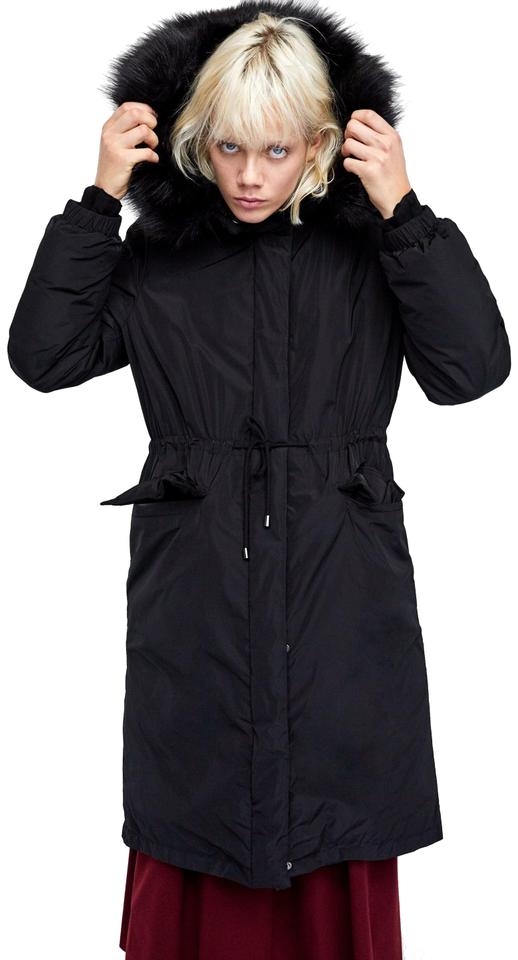2cf809f04a Zara Black New Long Faux Fur Hooded Down Winter Parka Puffer Jacket Coat  Size 6 (S)