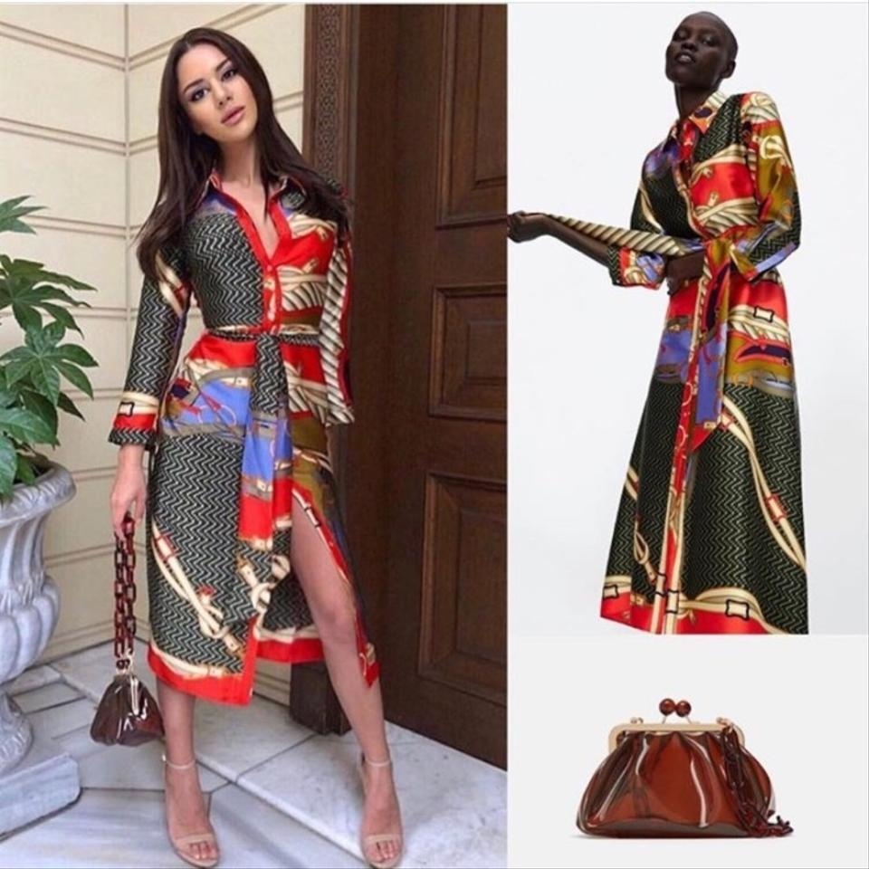 2e03d3b5 Zara Multicolor Blogger Fav Scarf Chain Print Tunic Midi with Belt ...