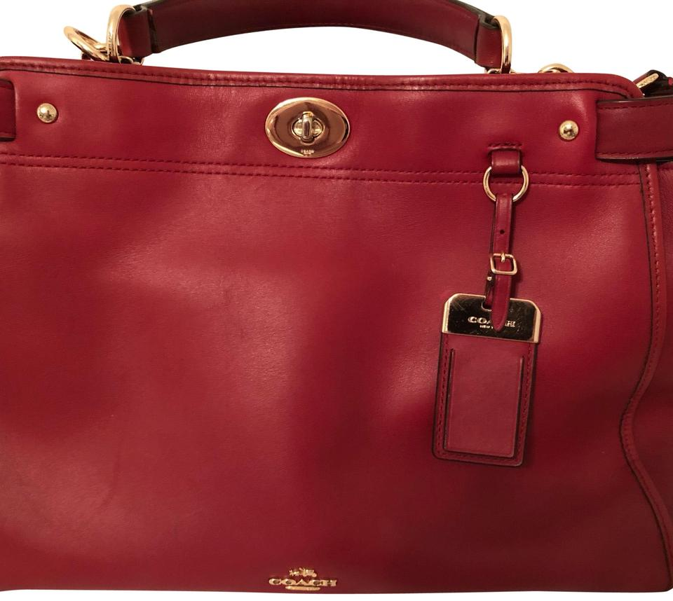 4cefe57696918 Coach Gramercy Red Currant Leather Satchel - Tradesy