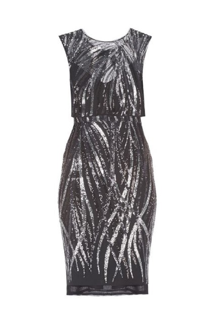 Item - Black/Silver Fallyn Flame Sequined Overlay Mid-length Cocktail Dress Size 6 (S)