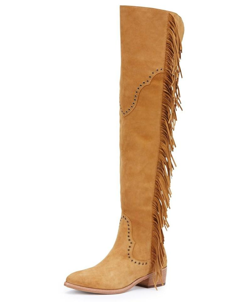 new styles eeef4 921c9 Frye Camel Ray Fringe Over The Knee Boots/Booties Size US 6 Regular (M, B)  66% off retail