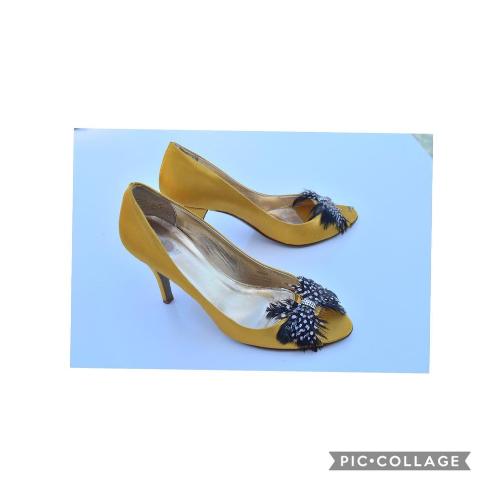 7313b6478e88 J.Crew Yellow Gold Babette Jeweled-feather Peep Toe Pumps. Size  US 10  Regular (M ...