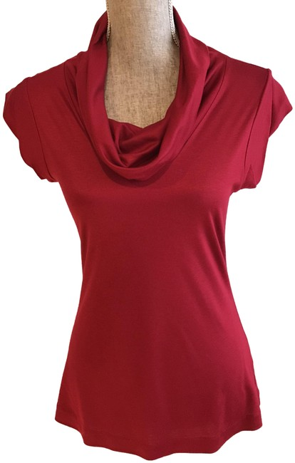 Item - Red Cowl Neck Cap Sleeve Small) Blouse Size 6 (S)