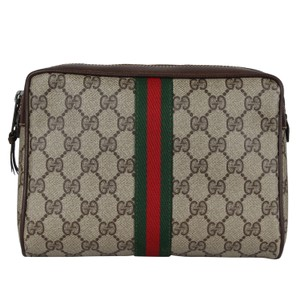Gucci Webby GG Monogram Canvas Leather Cosmetics Toiletry Bag Clutch 7039