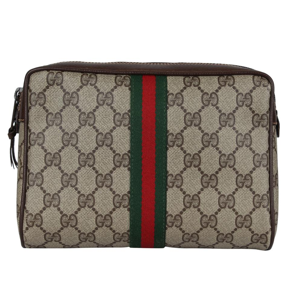 6d9f99c824b Gucci Webby GG Monogram Canvas Leather Cosmetics Toiletry Bag Clutch 7039  Image 0 ...