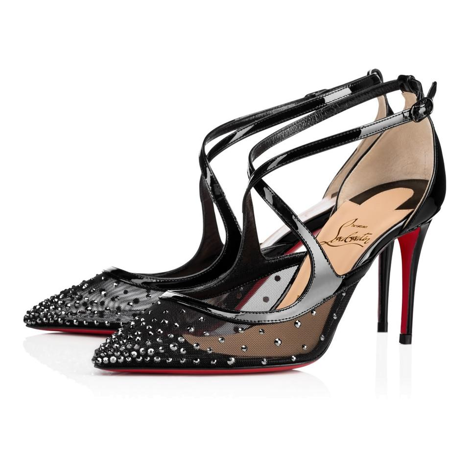 c0b528dfb5f Christian Louboutin Black Twistissima Strass 85 Patent Criss Cross Crystal  Mesh Heel Sandal Pumps Size EU 39 (Approx. US 9) Regular (M, B)