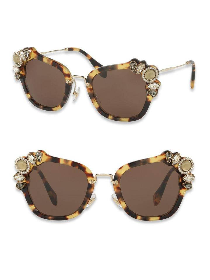 94551794cc63 Miu Miu Havana Smu 03s Crystal Embellished Cat Eye Sunglasses - Tradesy