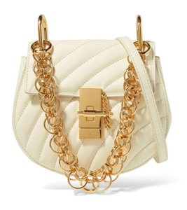 Chloé Drew Quilted White Classic Calfskin Shoulder Bag