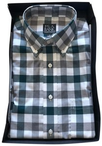 Jos. A. Bank Button Down Shirt Green and Gray