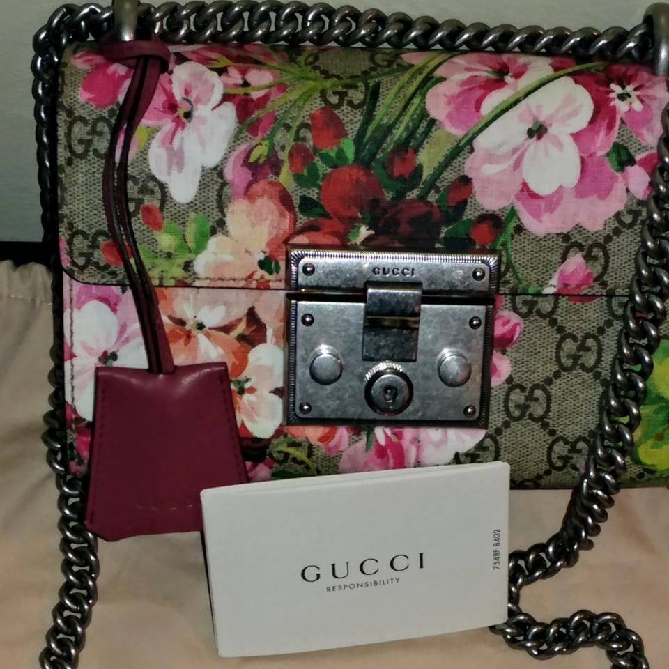 976f41ef463e26 Gucci Padlock Blooms Small Handbag Brown Gg Pattern with Mauve-pink Sides  and Bottom and Multicolor Flowers Coated Canvas Shoulder Bag